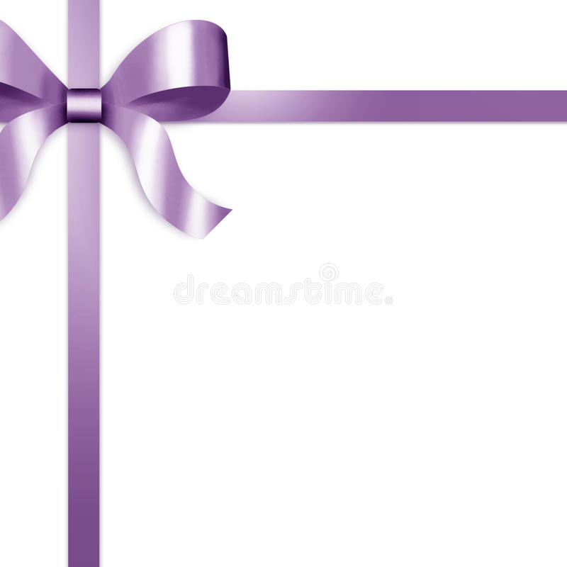 Free Gift Ribbon With Purple Satin Bow Stock Photography - 11248132
