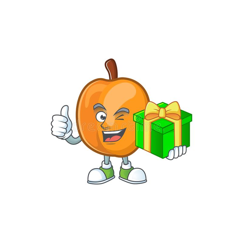 With gift ripe apricot character mascot of cartoon. Vector illustration royalty free illustration