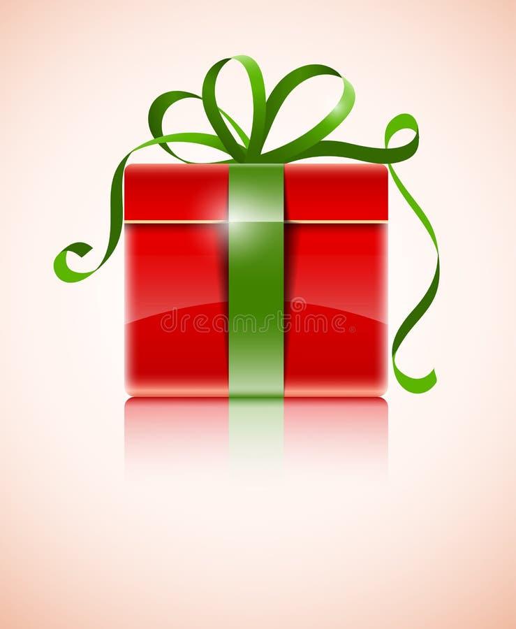 Gift in rode doos met groene boog vector illustratie