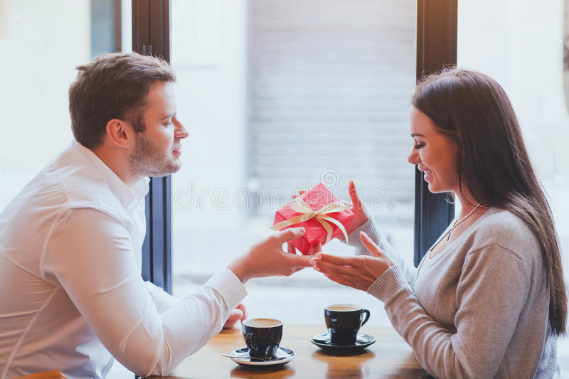 Gift, romantic dating royalty free stock photos
