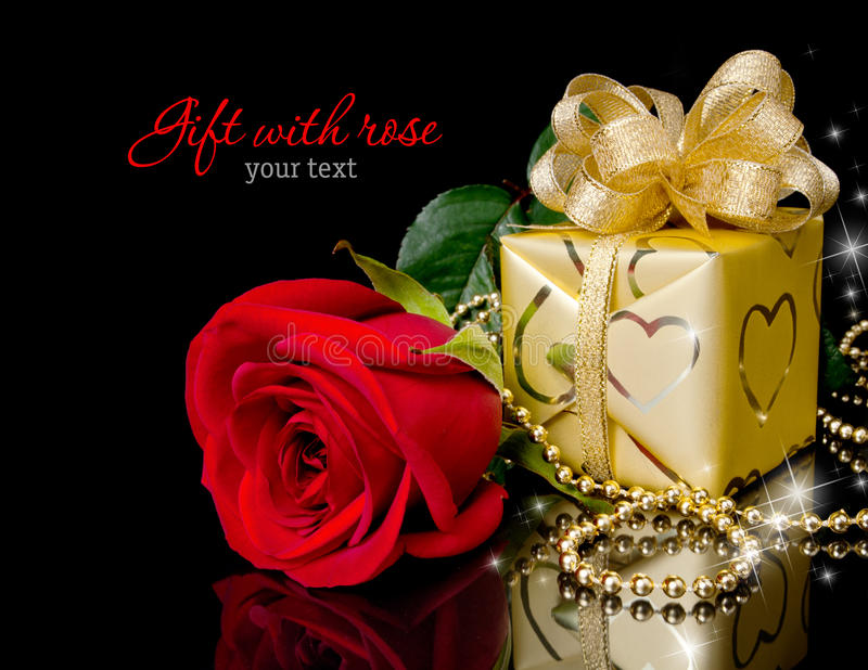 Gift with rose stock photography