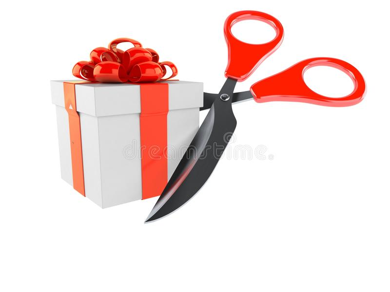 Gift with scissors. Isolated on white background vector illustration