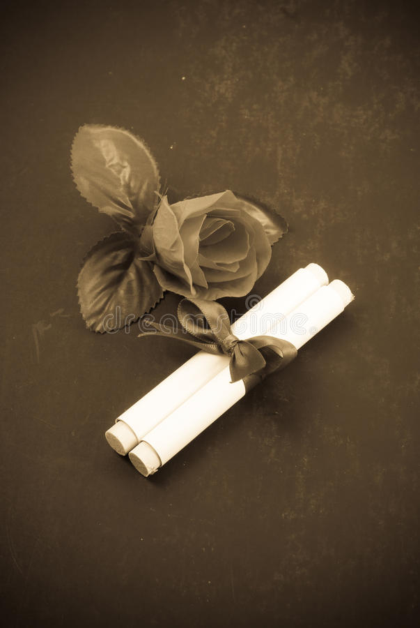 Gift Scroll. With Rose in Sepia stock images