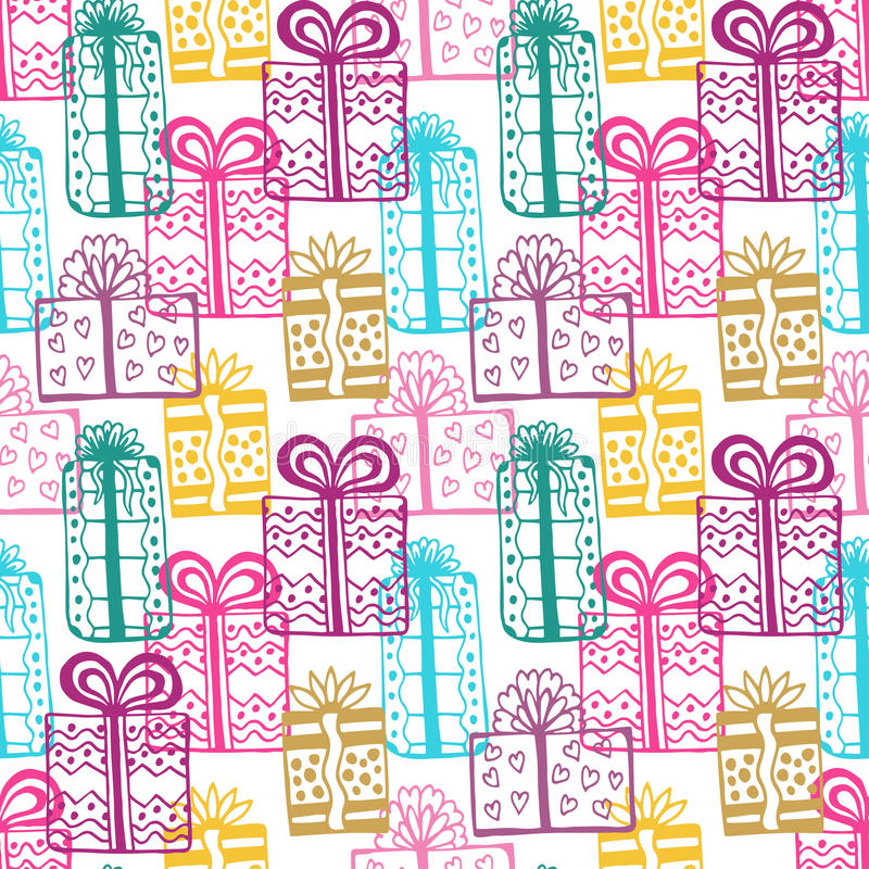 Gift seamless pattern. Seamless happy birthday colorful pattern. Texture with gift-box stock illustration