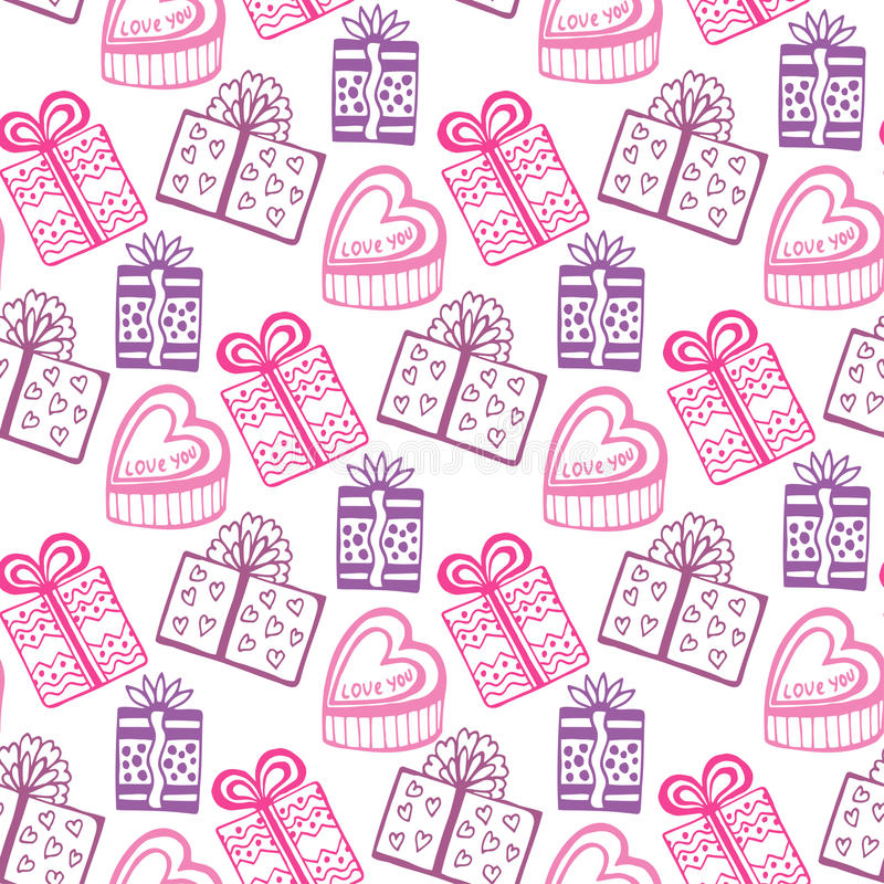 Gift seamless pattern. Seamless happy birthday or valentine pattern. Texture with pink gift-box. Es vector illustration