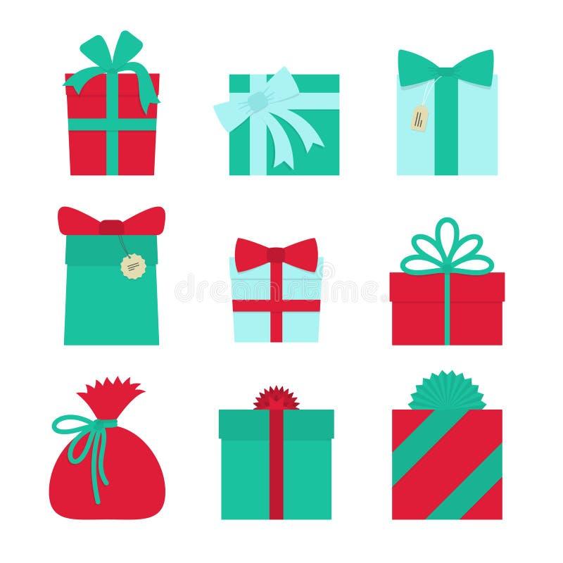 Gift set - christmas presents, anniversary celebration royalty free illustration