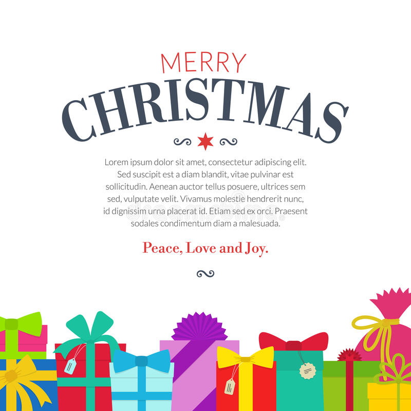 Gift set - christmas presents, anniversary celebration vector illustration