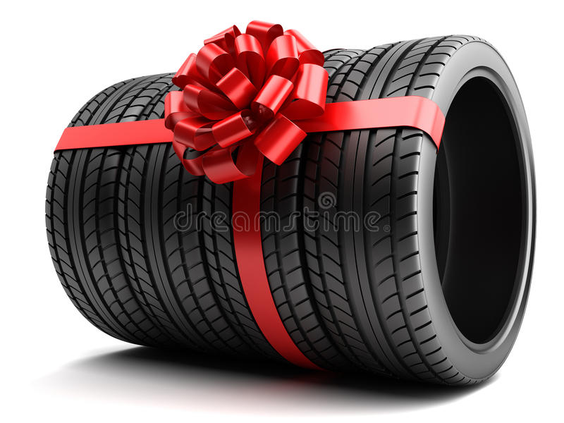 Gift set of tires wrapped ribbon and bow vector illustration
