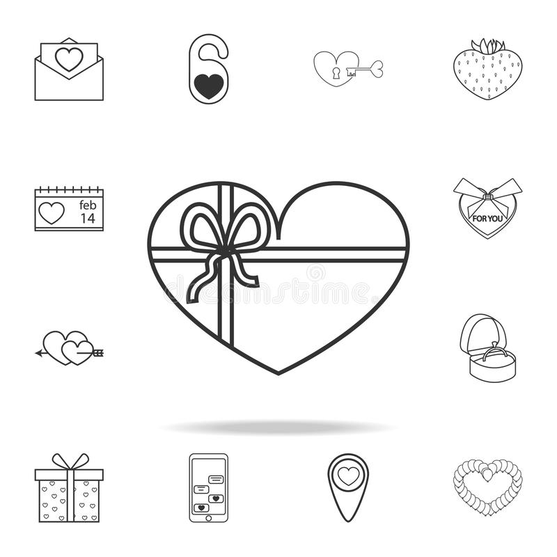 a gift in the shape of a heart icon. Set of Love element icons. Premium quality graphic design. Signs, outline symbols collection stock illustration
