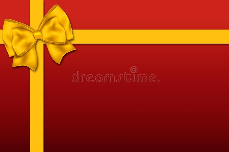 Gift-shaped illustration with a big ribbon decoration stock image