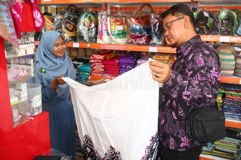 Gift shop in Banjarmasin, with a variety of local specialty products stock images