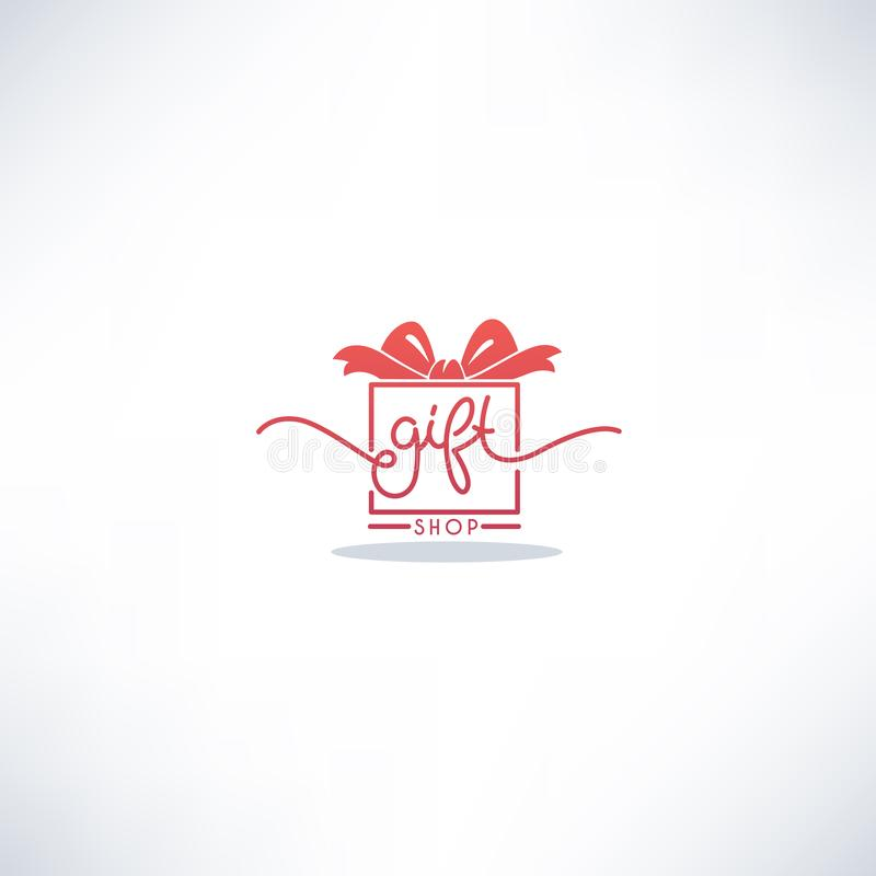 Gift Shop Doodle Lettering Logo with Image of Present Box royalty free illustration