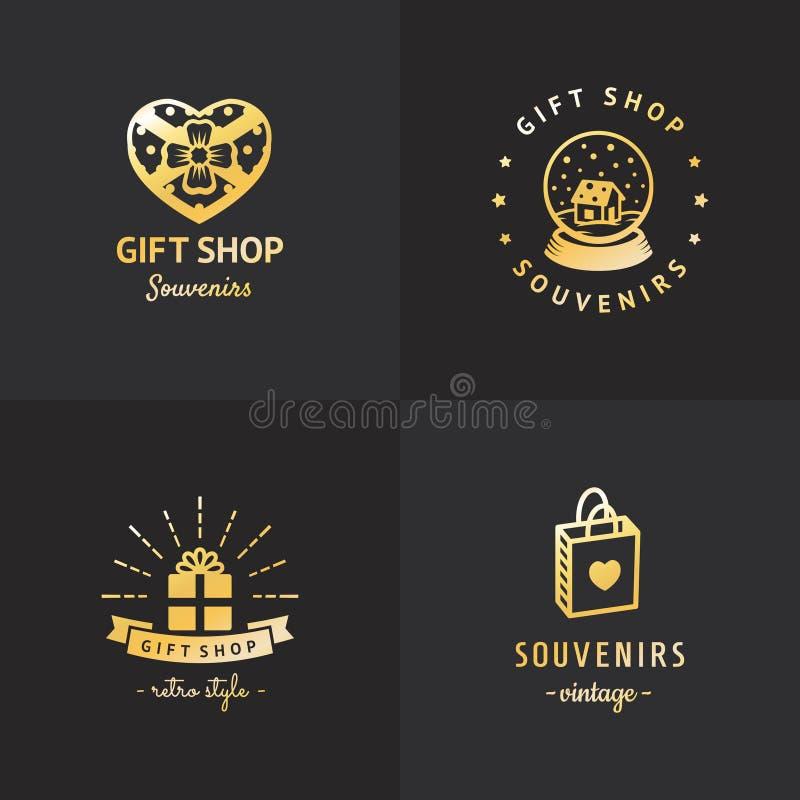 Gift shop gold logo hipster vintage vector set. Part two. royalty free illustration