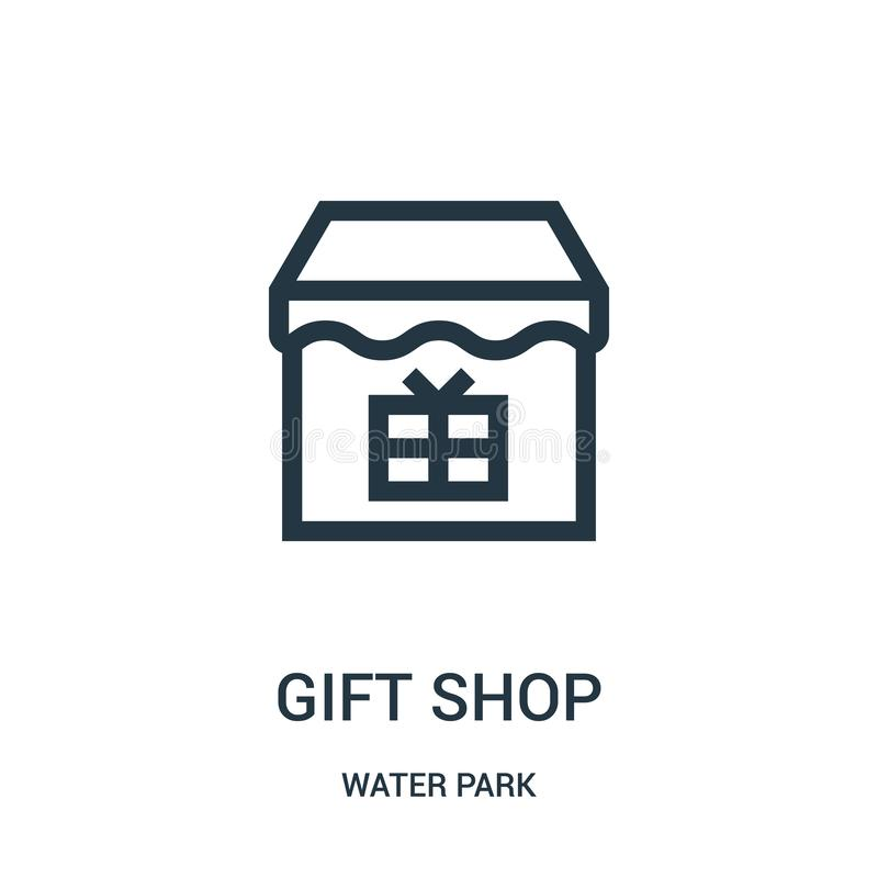 gift shop icon vector from water park collection. Thin line gift shop outline icon vector illustration. Linear symbol for use on vector illustration