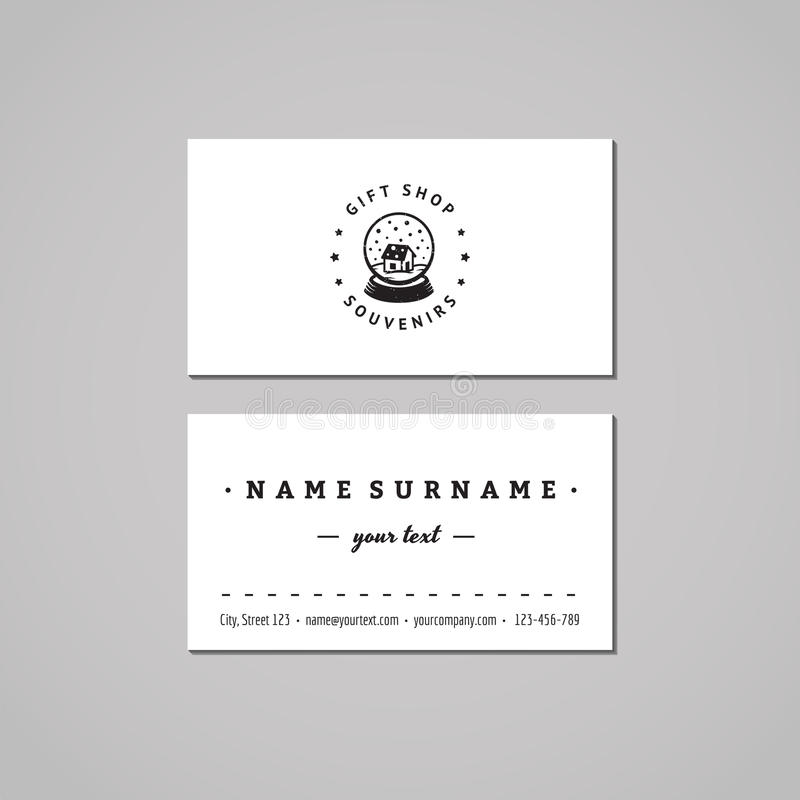 Gift shop and souvenirs business card design concept. Gift shop logo with snow globe with house. Vintage, hipster and retro royalty free illustration