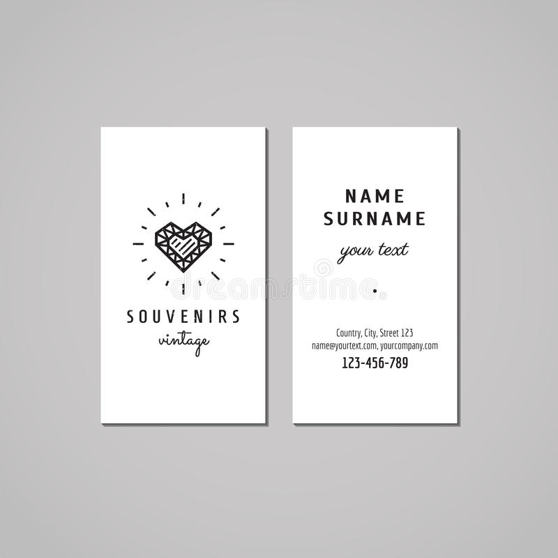 Gift shop, souvenirs and jewelery store business card design concept. Gift shop logo with crystal heart. Vintage, hipster and retro style. Black and white stock illustration