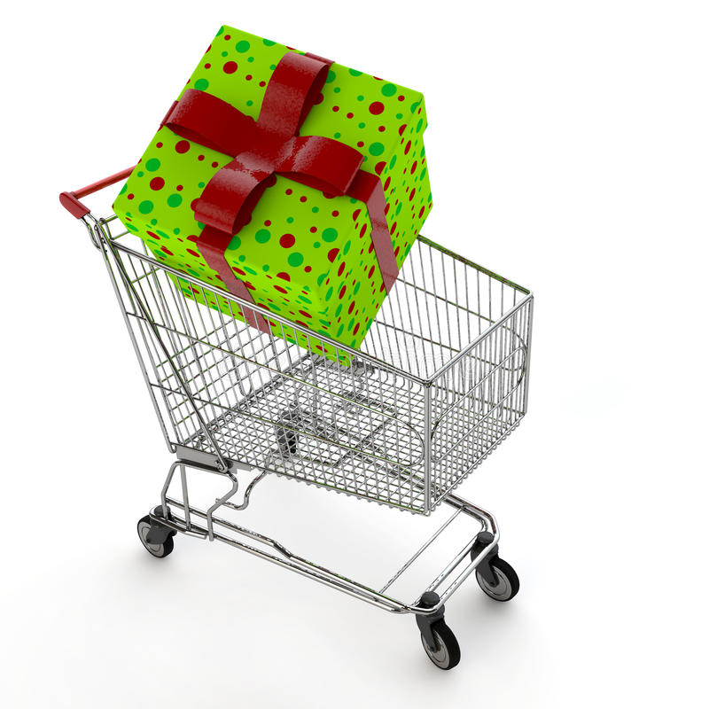 Download Gift in shopping cart stock illustration. Image of retail - 22943964