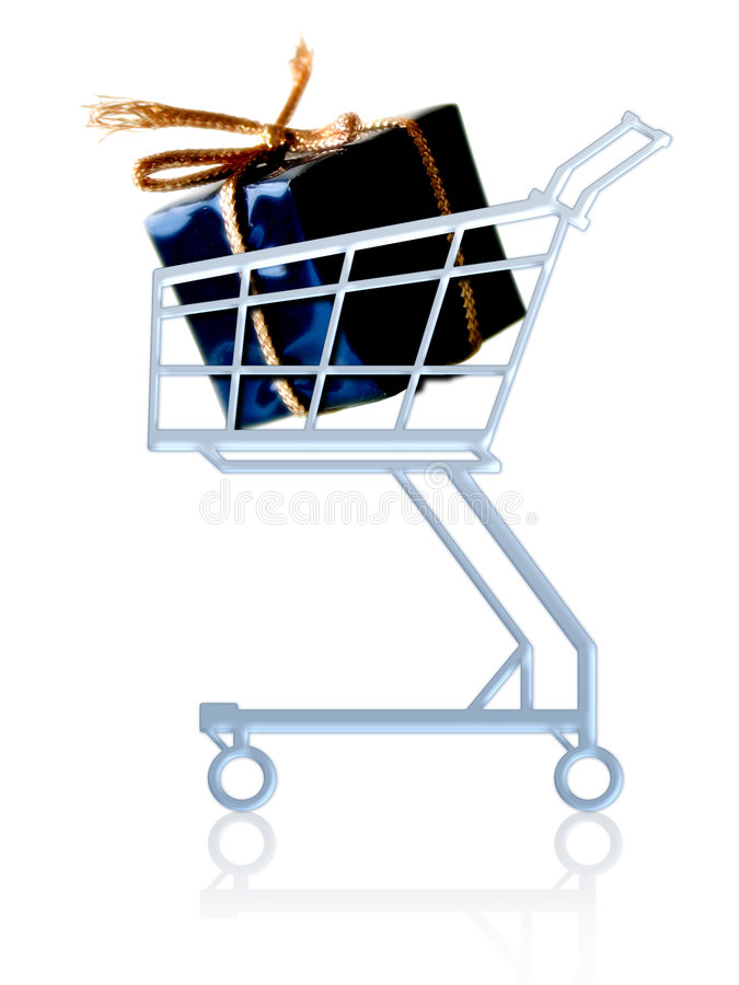 Gift in a shopping cart royalty free illustration