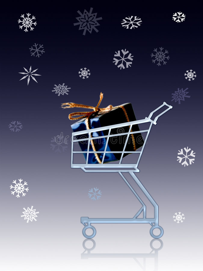 Gift in a shopping cart vector illustration