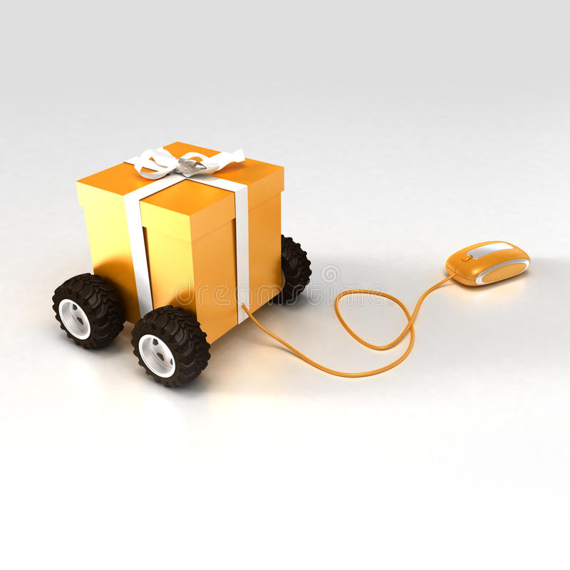 Gift shopping in orange. 3D rendering of an orange gift box on wheels connected to a computer mouse royalty free illustration
