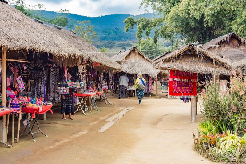 Gift shops in the 'Long Neck Karen' ethnic hill-tribe village, Chiang Mai, Thailand royalty free stock images