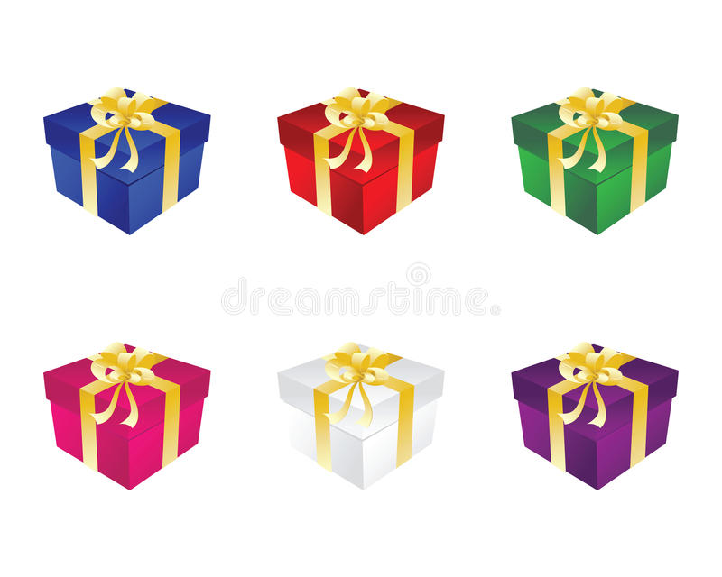 Gift Six Box With Bow Stock Photography