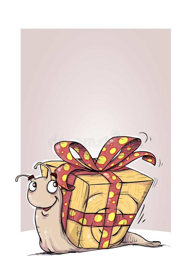 Gift snail illustration. Cartoon snail with wrapped house like present with bow vector illustration