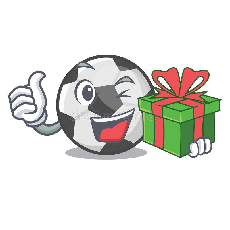 With gift soccer ball in a cartoon basket royalty free illustration