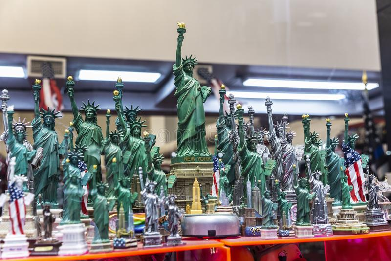 Gift and souvenir store in New York City, USA. Display of a gift and souvenir store with miniatures of the Statue of Liberty in Manhattan, New York City, USA stock photo