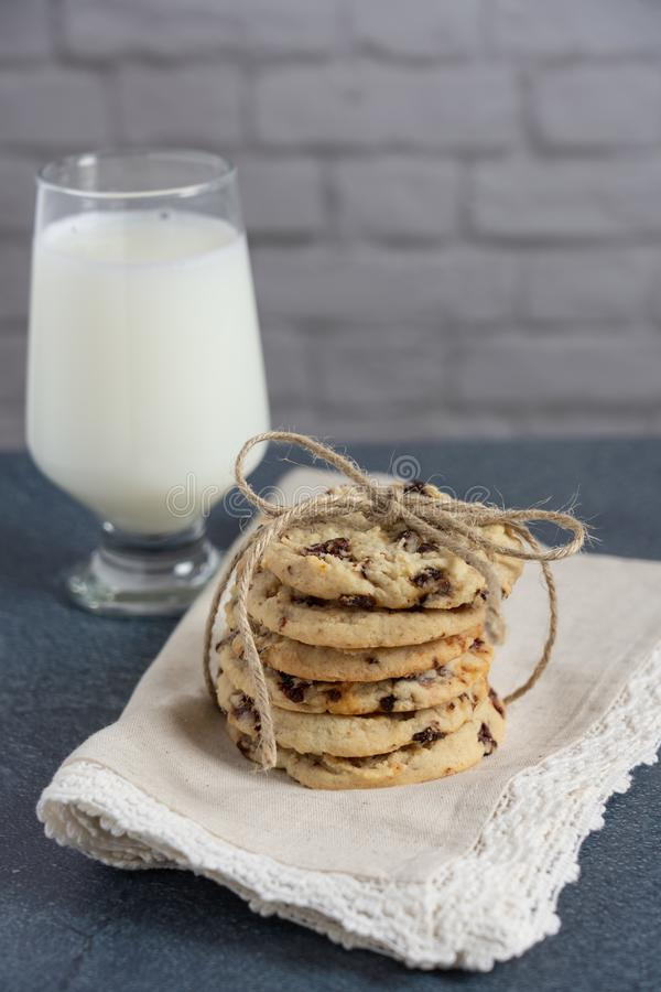 A gift stack of healthy dried cherry cookies royalty free stock images