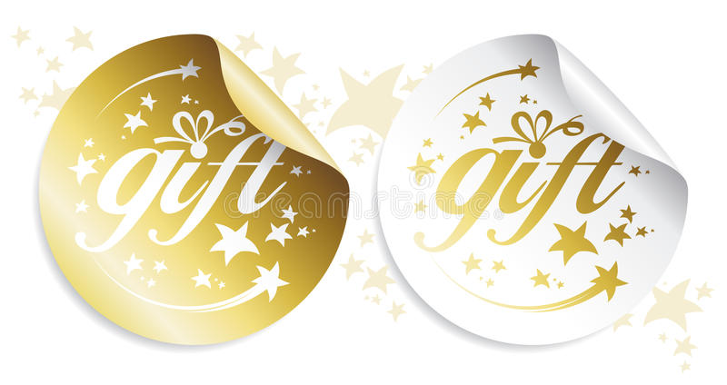 Gift stickers. Gold gift stickers, holidays set stock illustration