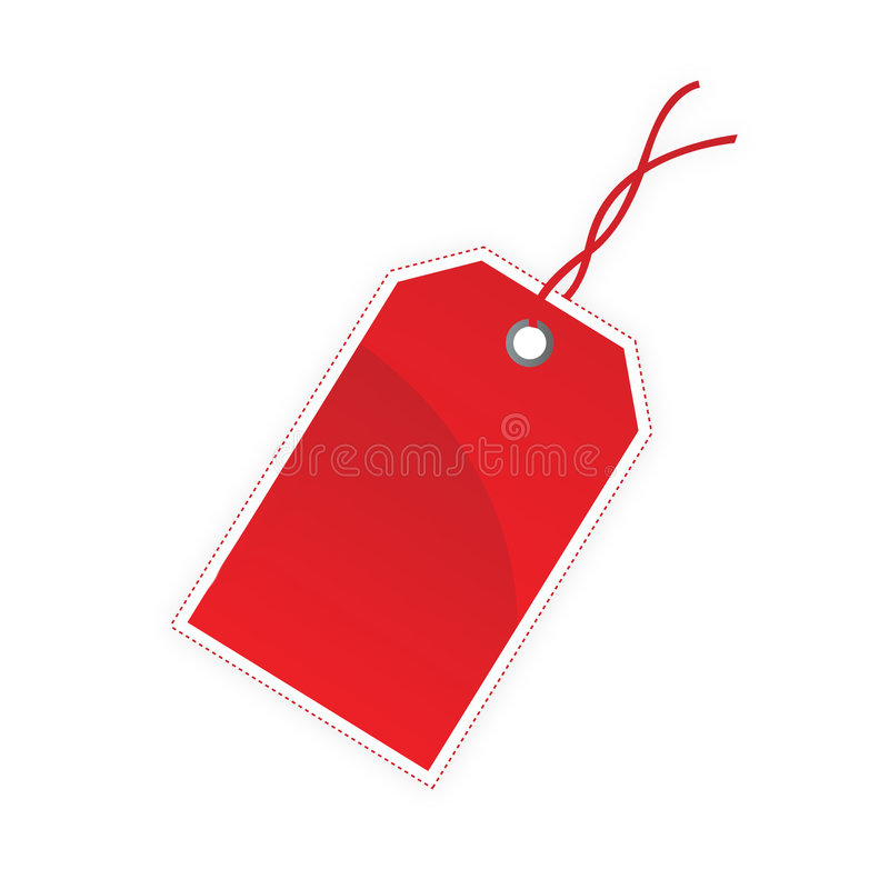 Gift tag. Blank red gift tag isolated on white background