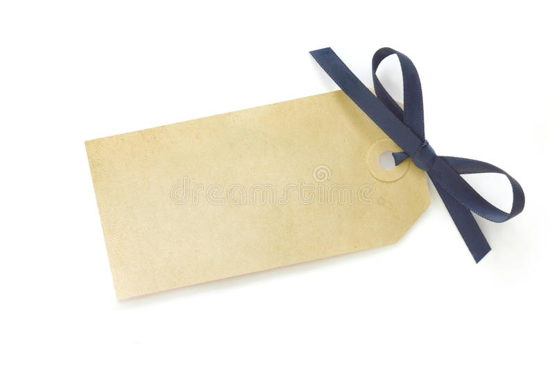 Gift Tag With Blue Bow Royalty Free Stock Images