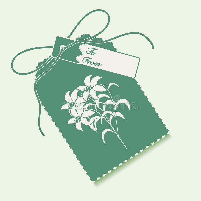 Gift tag with branch of lilies and ribbon. Sale and shopping con. Cept. Design for postcard, banner, poster or print stock illustration