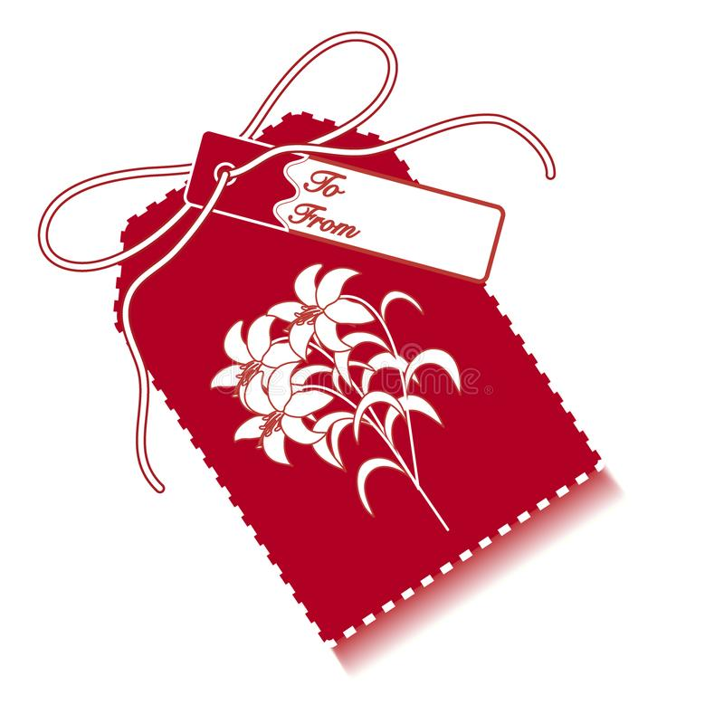 Gift tag with branch of lilies and ribbon. Sale and shopping con. Cept. Design for postcard, banner, poster or print royalty free illustration