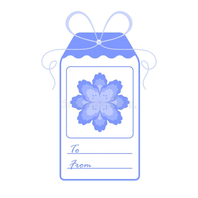 Gift tag with flower and ribbon. Sale and shopping concept. Design for postcard, banner, poster or print stock illustration