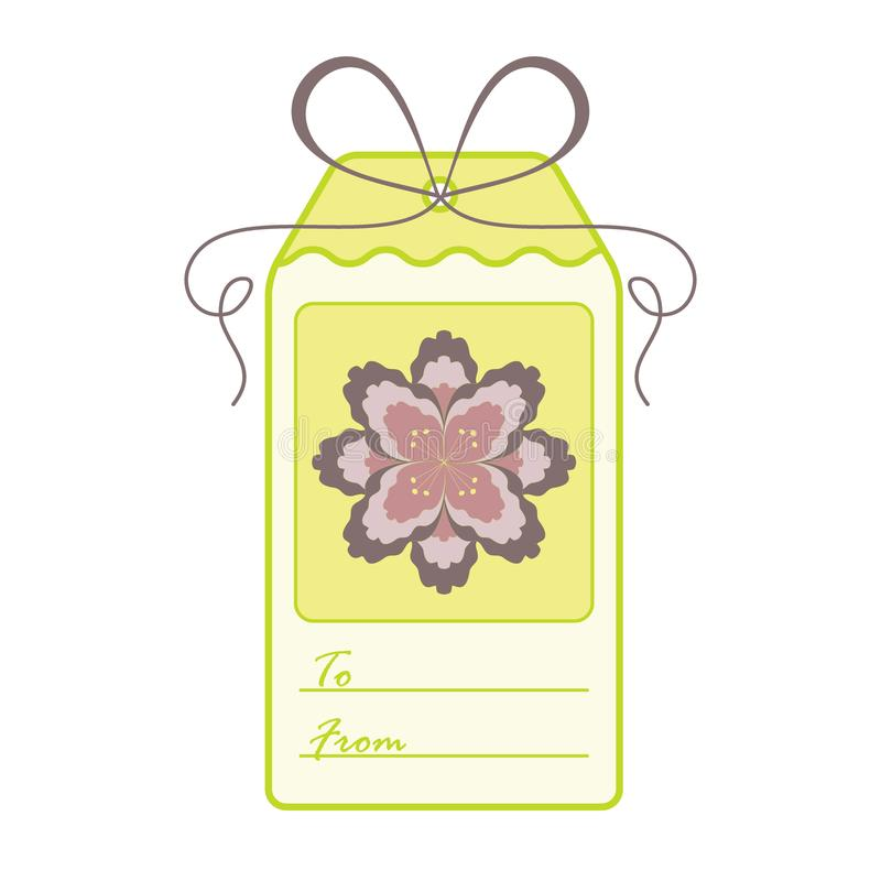 Gift tag with flower and ribbon. Sale and shopping concept. Design for postcard, banner, poster or print vector illustration