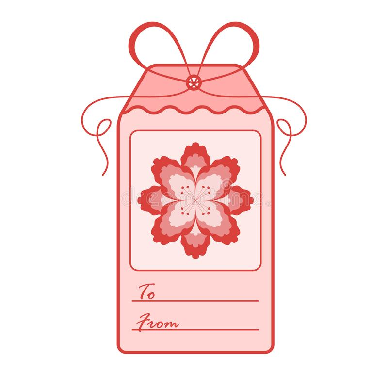 Gift tag with flower and ribbon. Sale and shopping concept. Design for postcard, banner, poster or print royalty free illustration