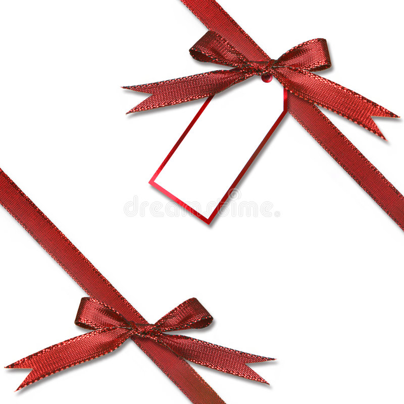 Gift Tag Hanging from a Present stock photo
