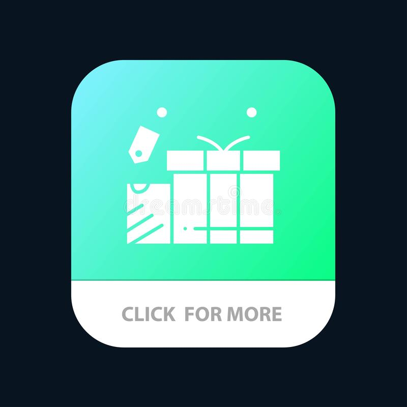 Gift, Tag, Love, Wedding Mobile App Button. Android and IOS Glyph Version vector illustration
