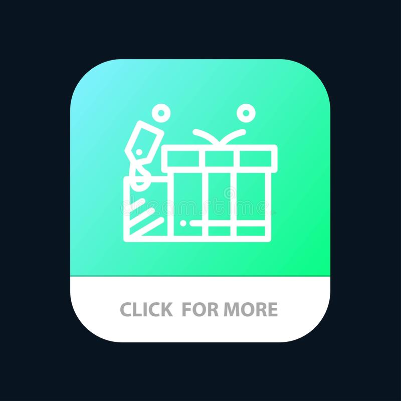 Gift, Tag, Love, Wedding Mobile App Button. Android and IOS Line Version royalty free illustration