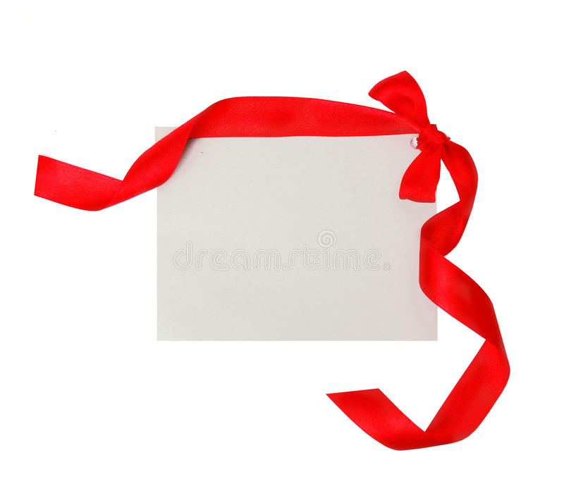 Download Gift Tag With Red Ribbon  Isolated Stock Photo - Image: 17181454
