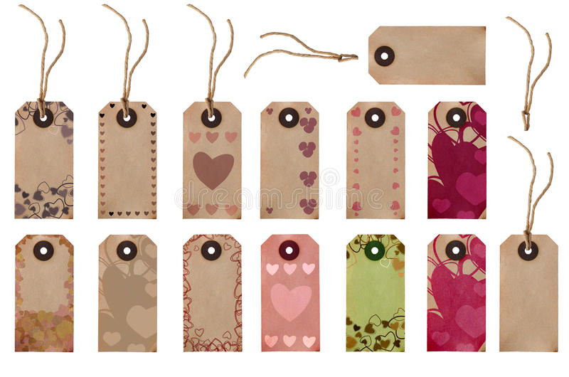 Gift Tag Selection - Love Hearts stock image