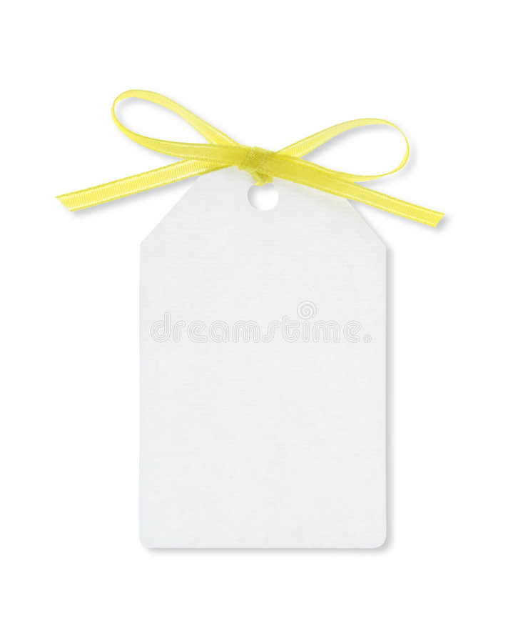 Download Gift Tag Tied With Yellow Ribbon With Clipping Path Stock Image - Image: 1877169