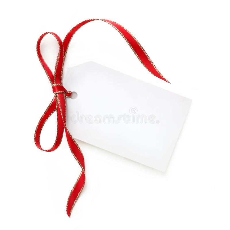 Free Gift Tag With Red And Gold Ribbon Stock Images - 10010264