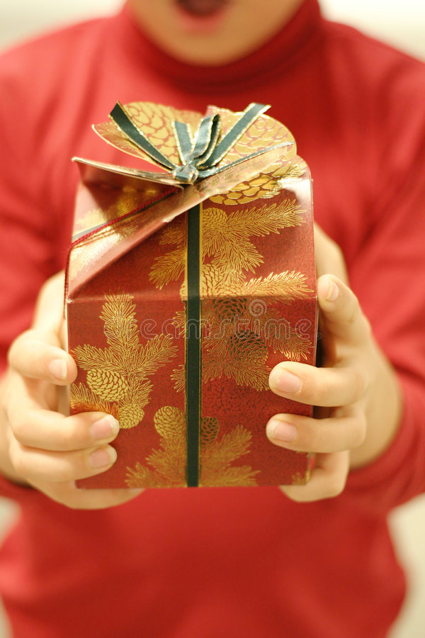 Gift time. Receiving a gift. Focus on gift only stock images