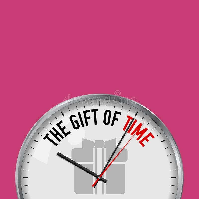 The Gift of Time. White Vector Clock with Motivational Slogan. Analog Metal Watch with Glass. Gift Box with Ribbon Icon vector illustration