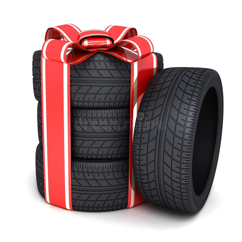 Gift tires. And ribbon (done in 3d stock illustration