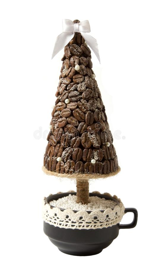 Gift tree from coffee beans royalty free stock photography