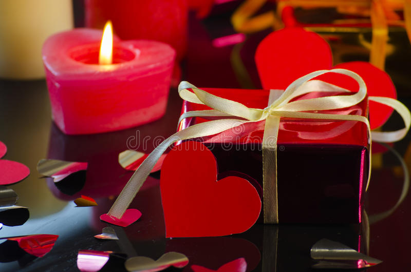 Gift for Valentine`s Day. Romantic background for the holiday Valentine`s Day stock photos